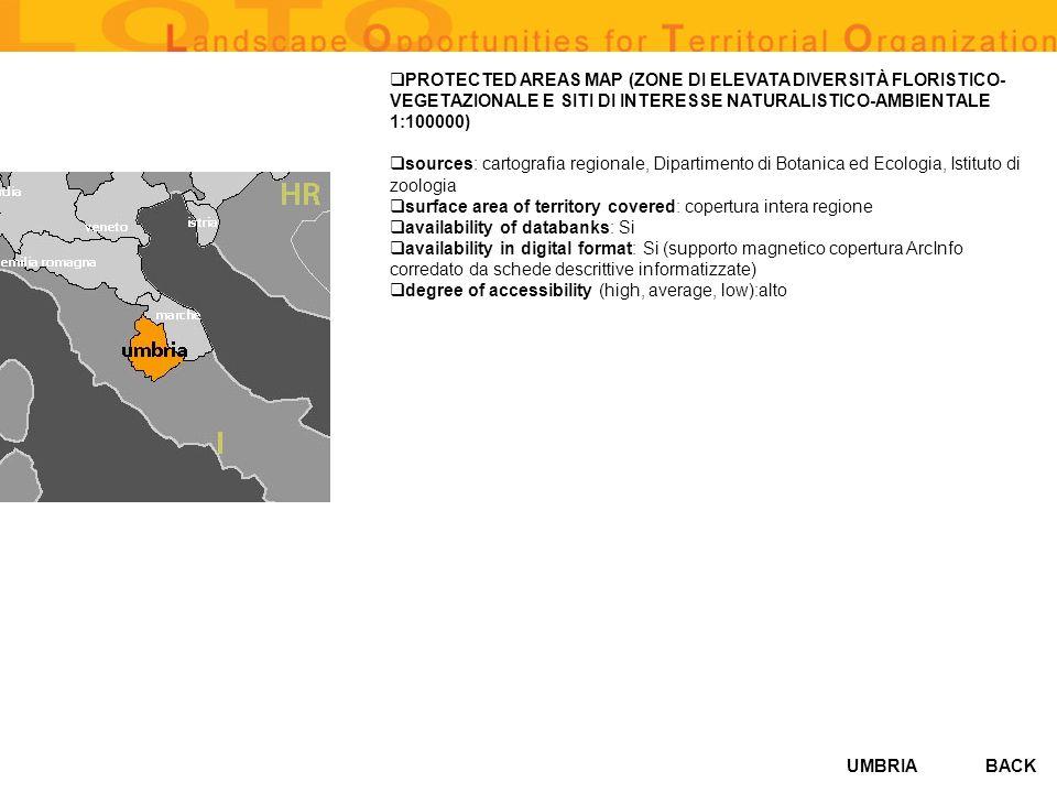 PROTECTED AREAS MAP (ZONE DI ELEVATA DIVERSITÀ FLORISTICO-VEGETAZIONALE E SITI DI INTERESSE NATURALISTICO-AMBIENTALE 1:100000)