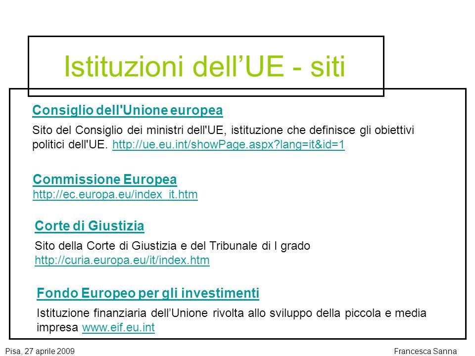 Istituzioni dell'UE - siti