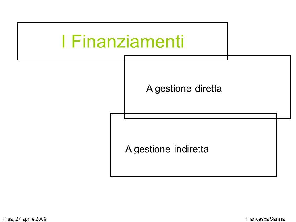 I Finanziamenti A gestione diretta A gestione indiretta