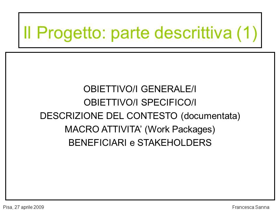 Il Progetto: parte descrittiva (1)