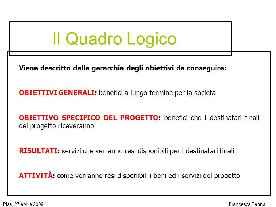 Il Quadro Logico Viene descritto dalla gerarchia degli obiettivi da conseguire: OBIETTIVI GENERALI: benefici a lungo termine per la società.