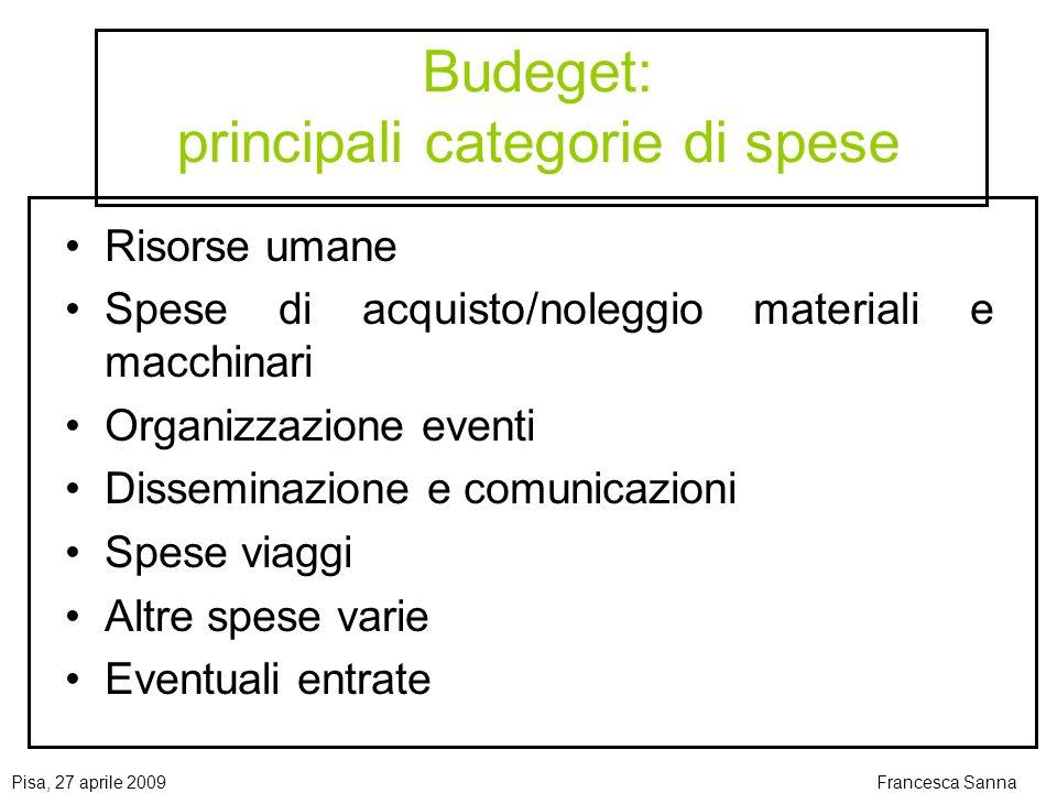 Budeget: principali categorie di spese
