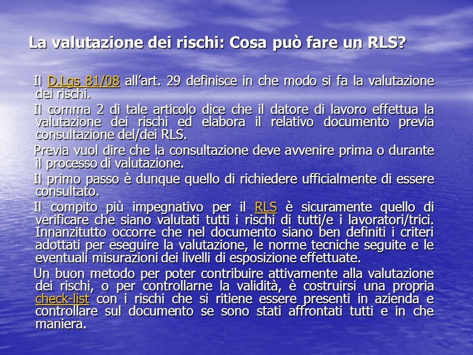 La valutazione dei rischi: Cosa può fare un RLS