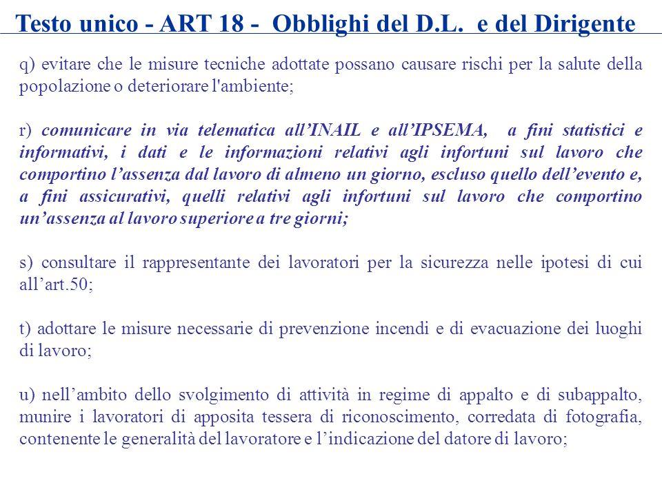 Testo unico - ART 18 - Obblighi del D.L. e del Dirigente