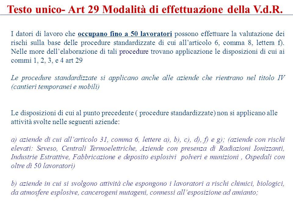 Testo unico- Art 29 Modalità di effettuazione della V.d.R.