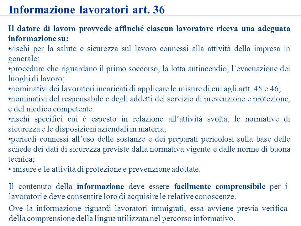 Informazione lavoratori art. 36