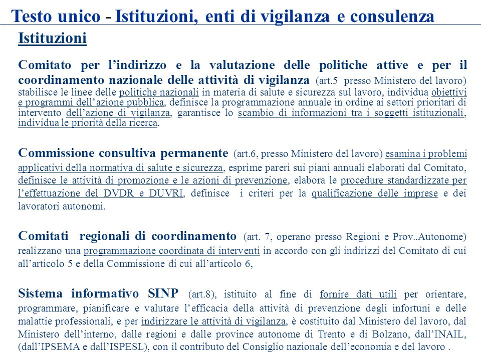 Testo unico - Istituzioni, enti di vigilanza e consulenza
