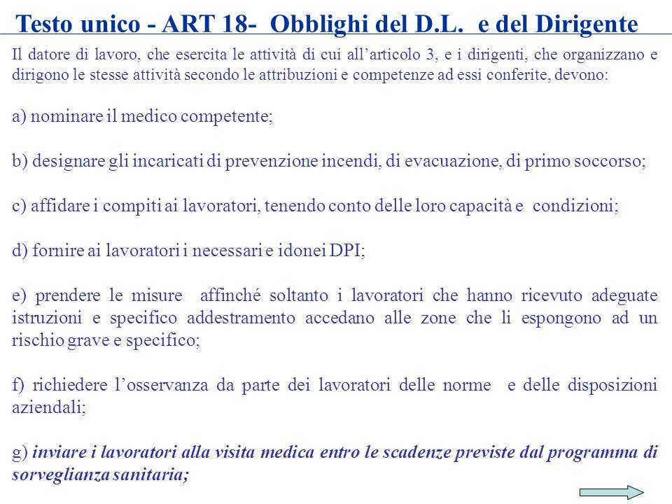 Testo unico - ART 18- Obblighi del D.L. e del Dirigente