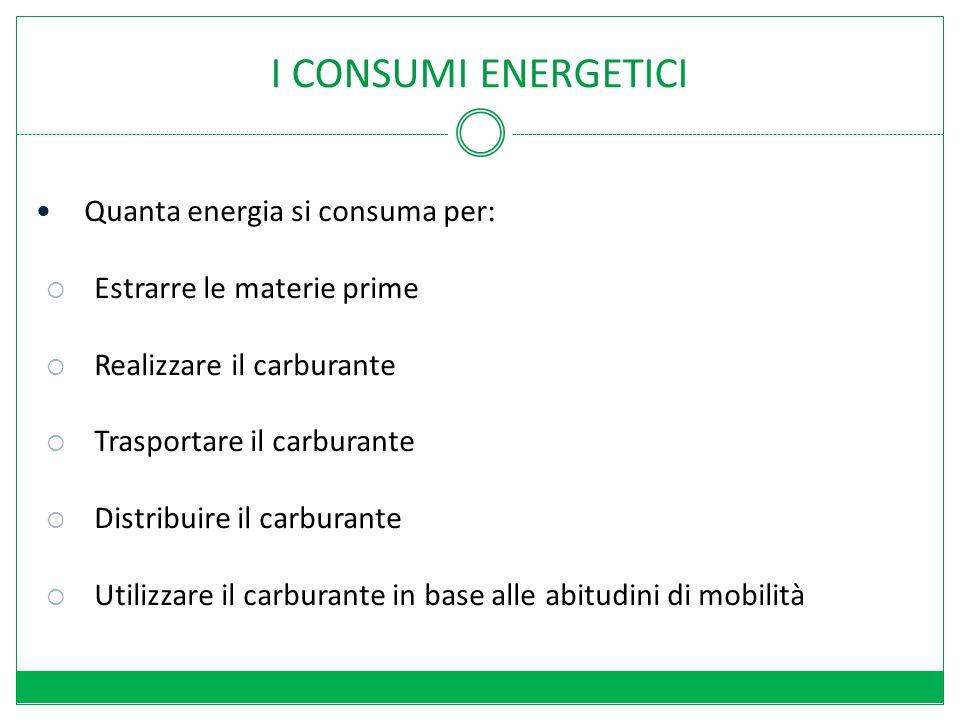 I CONSUMI ENERGETICI Quanta energia si consuma per: