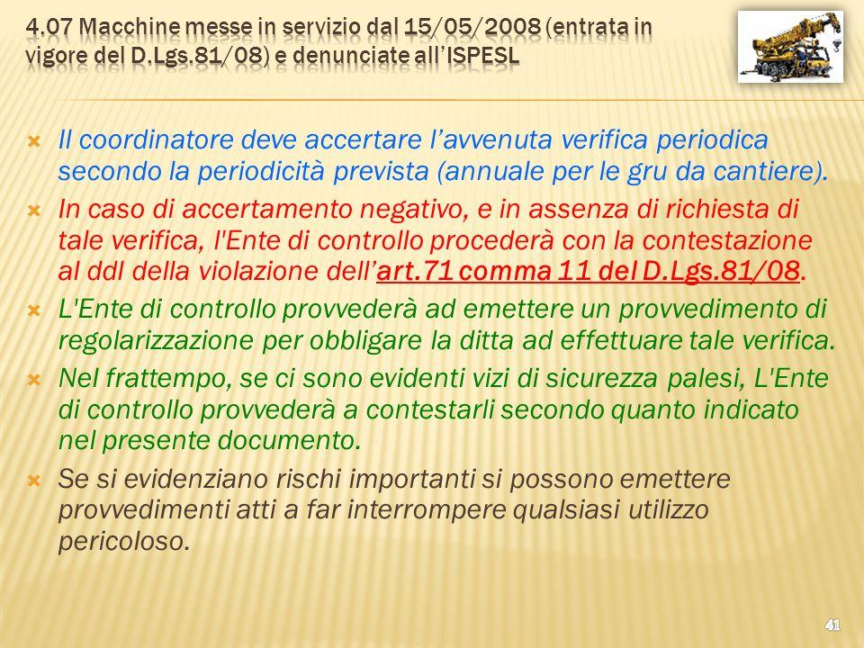 4.07 Macchine messe in servizio dal 15/05/2008 (entrata in vigore del D.Lgs.81/08) e denunciate all'ISPESL