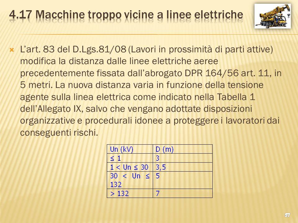 4.17 Macchine troppo vicine a linee elettriche