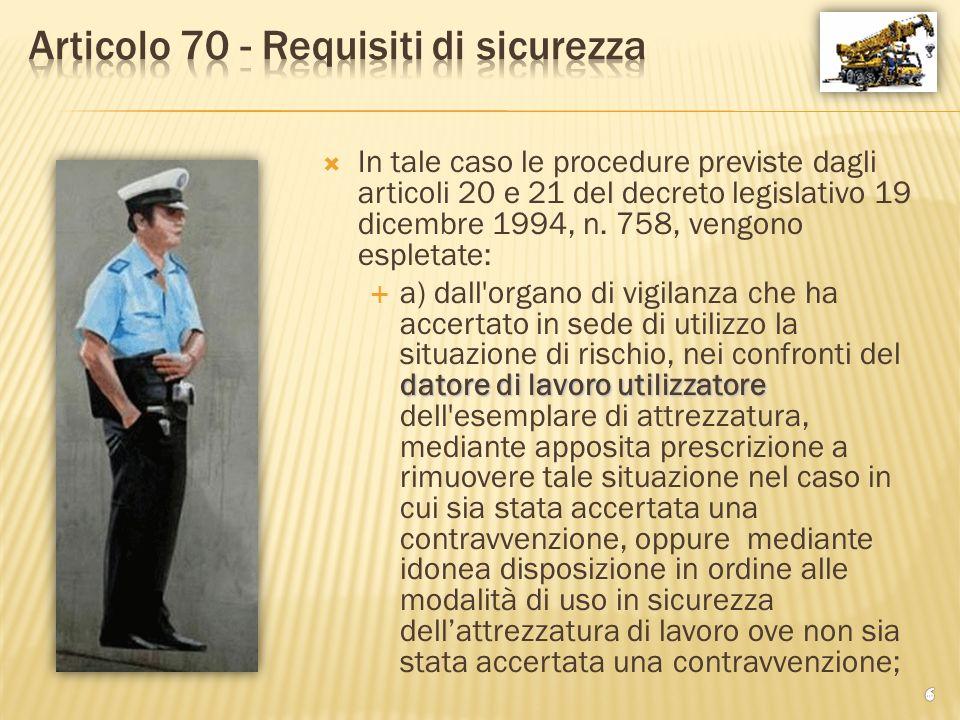 Articolo 70 - Requisiti di sicurezza