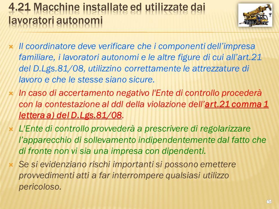 4.21 Macchine installate ed utilizzate dai lavoratori autonomi