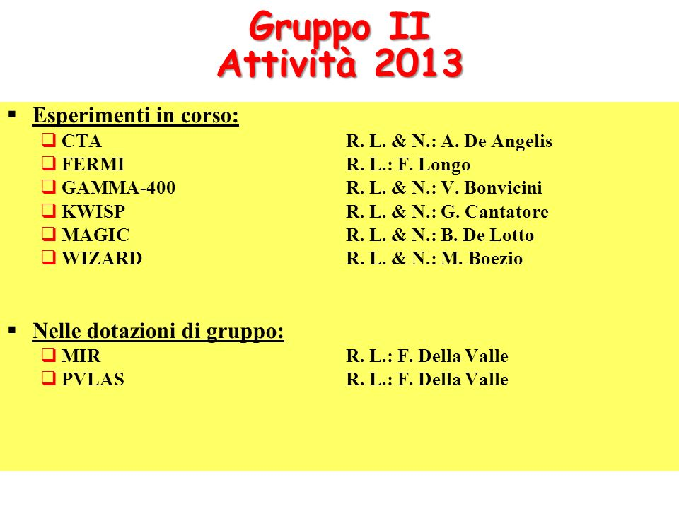 Gruppo II Attività 2013 Esperimenti in corso: