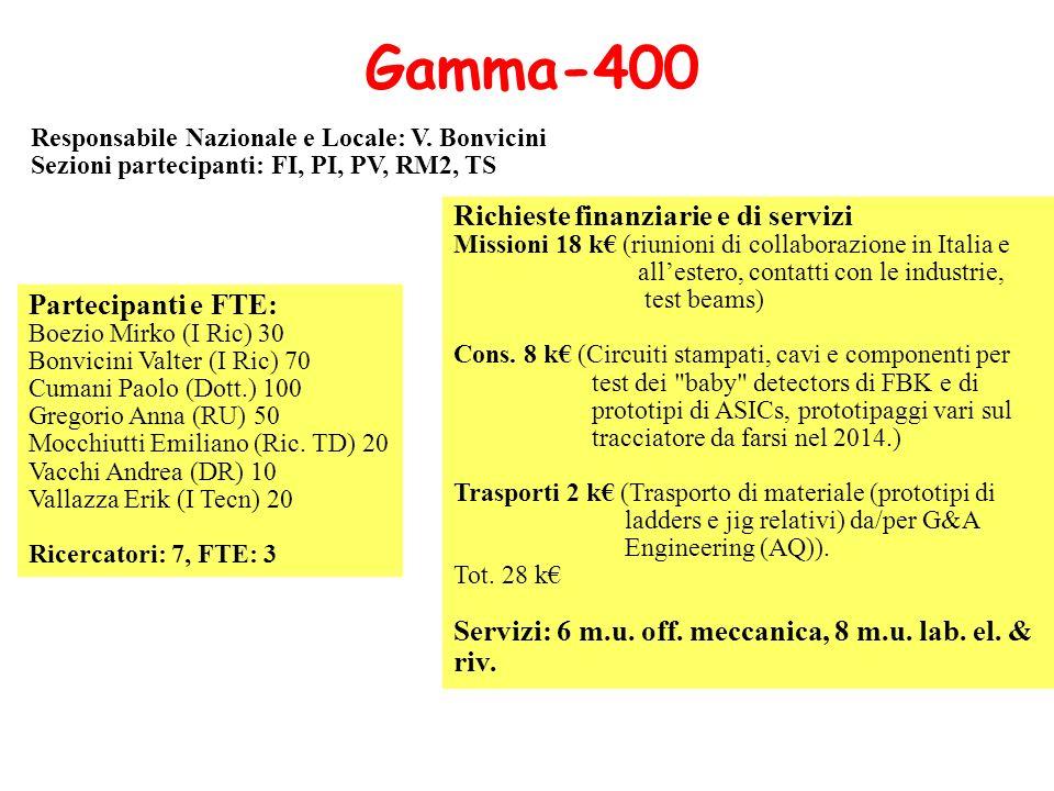 Gamma-400 Richieste finanziarie e di servizi Partecipanti e FTE:
