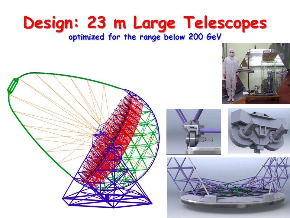 Design: 23 m Large Telescopes optimized for the range below 200 GeV