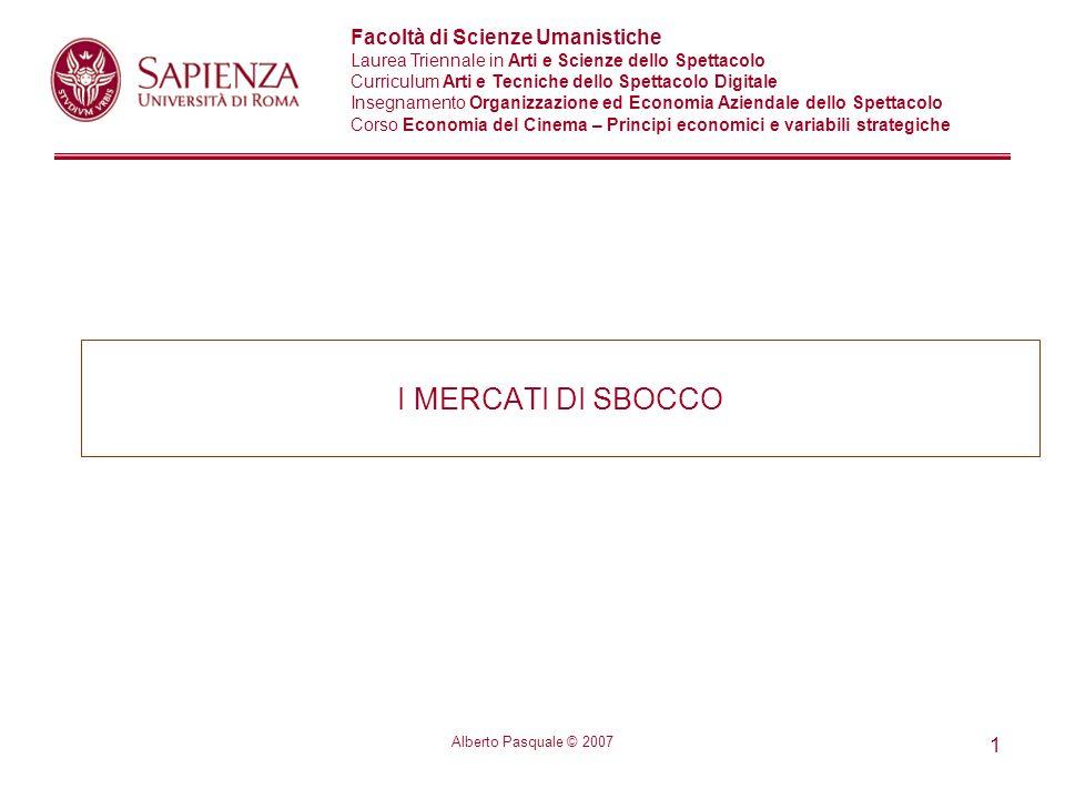 I MERCATI DI SBOCCO Alberto Pasquale © 2007