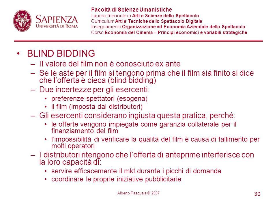 BLIND BIDDING Il valore del film non è conosciuto ex ante