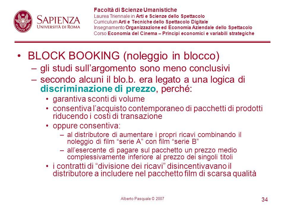 BLOCK BOOKING (noleggio in blocco)