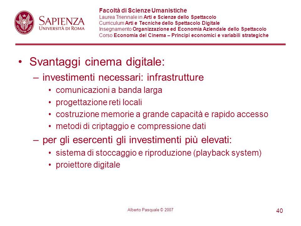 Svantaggi cinema digitale: