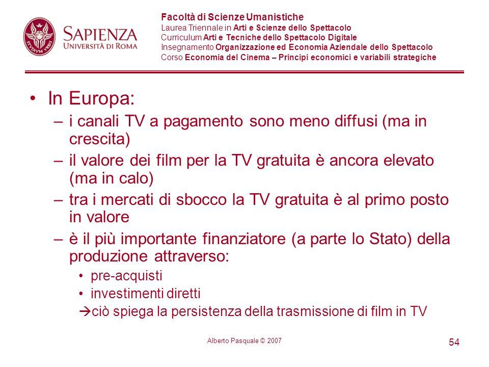 In Europa: i canali TV a pagamento sono meno diffusi (ma in crescita)
