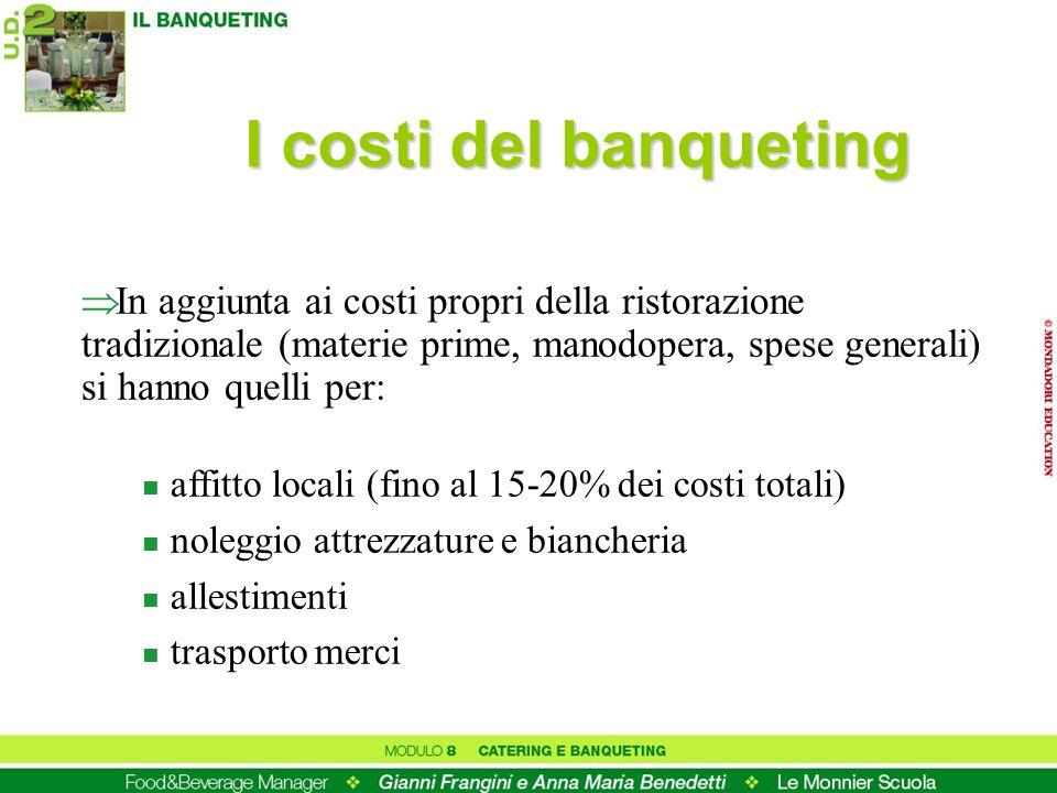 I costi del banquetingIn aggiunta ai costi propri della ristorazione tradizionale (materie prime, manodopera, spese generali) si hanno quelli per: