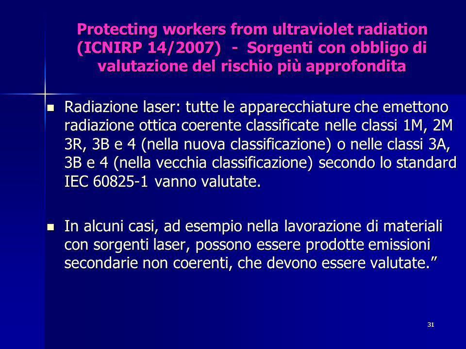 Protecting workers from ultraviolet radiation (ICNIRP 14/2007) - Sorgenti con obbligo di valutazione del rischio più approfondita