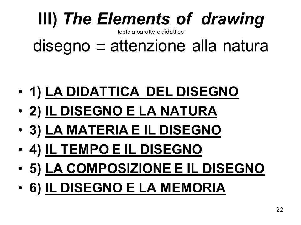 III) The Elements of drawing testo a carattere didattico disegno  attenzione alla natura