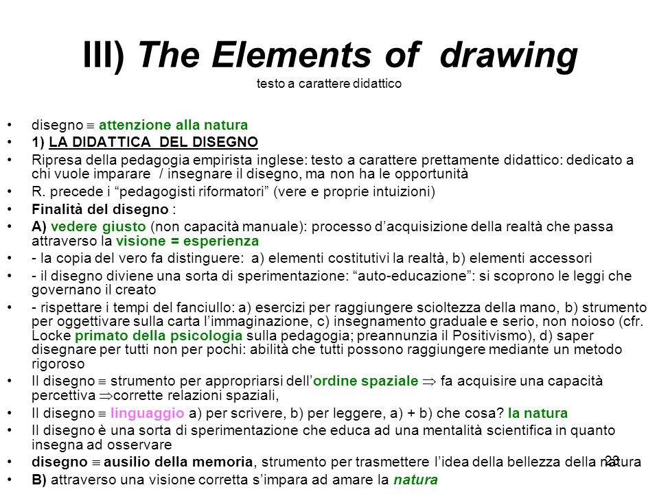III) The Elements of drawing testo a carattere didattico