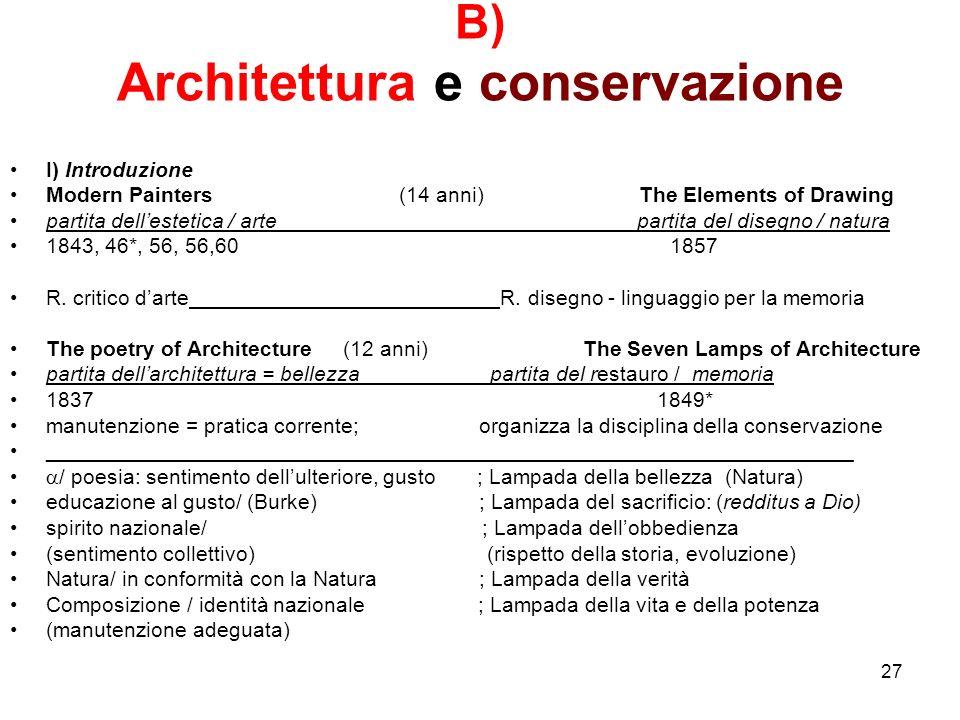 B) Architettura e conservazione