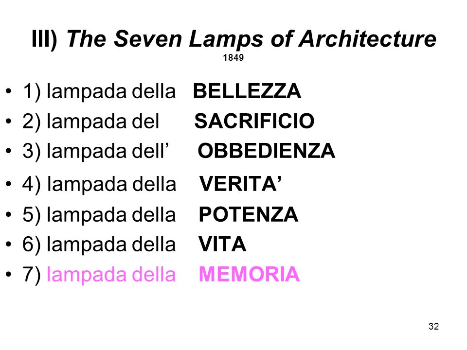 III) The Seven Lamps of Architecture 1849