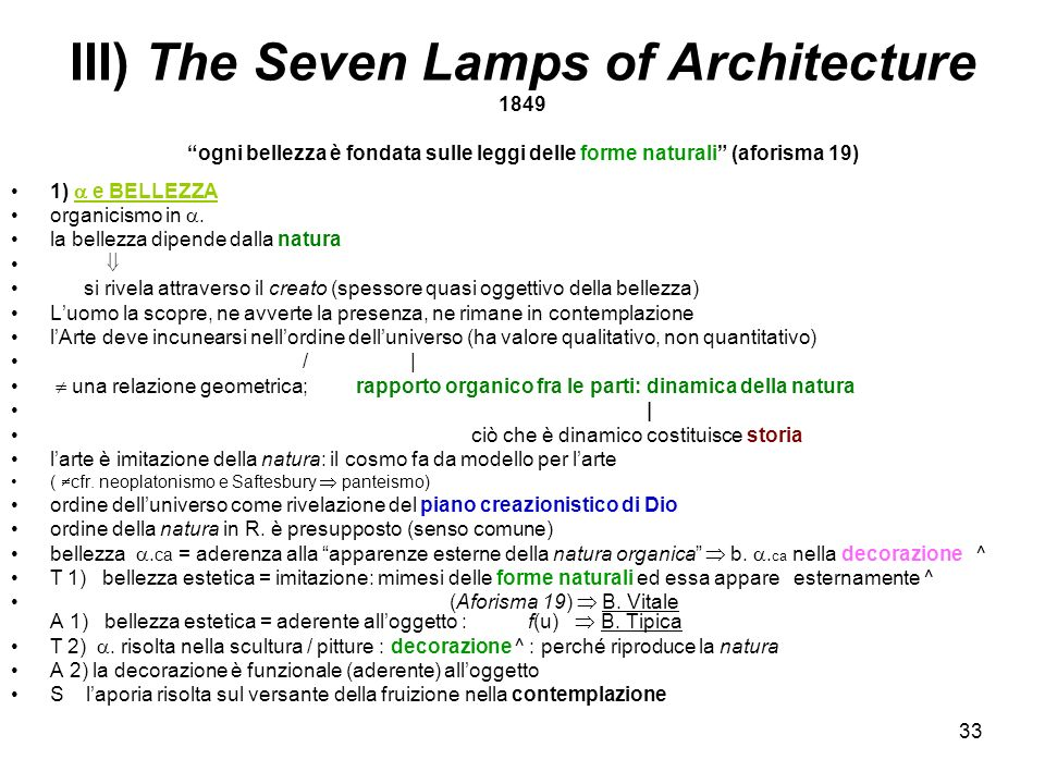 III) The Seven Lamps of Architecture 1849 ogni bellezza è fondata sulle leggi delle forme naturali (aforisma 19)
