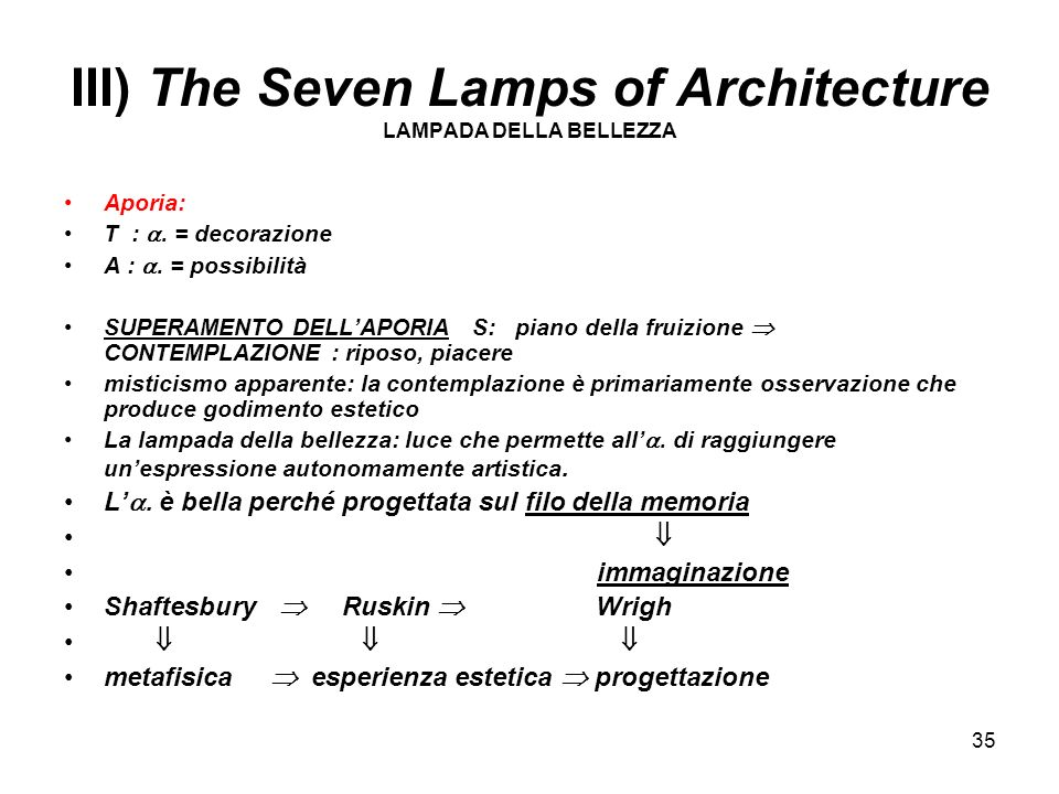 III) The Seven Lamps of Architecture LAMPADA DELLA BELLEZZA