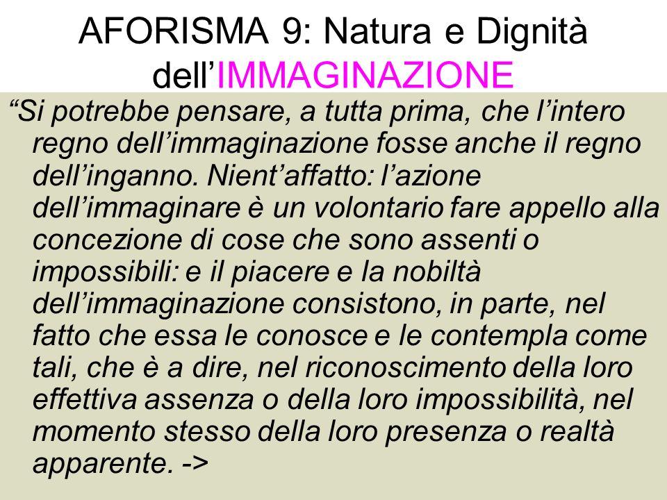 AFORISMA 9: Natura e Dignità dell'IMMAGINAZIONE