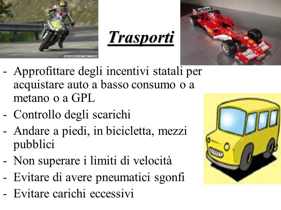 Trasporti Approfittare degli incentivi statali per acquistare auto a basso consumo o a metano o a GPL.