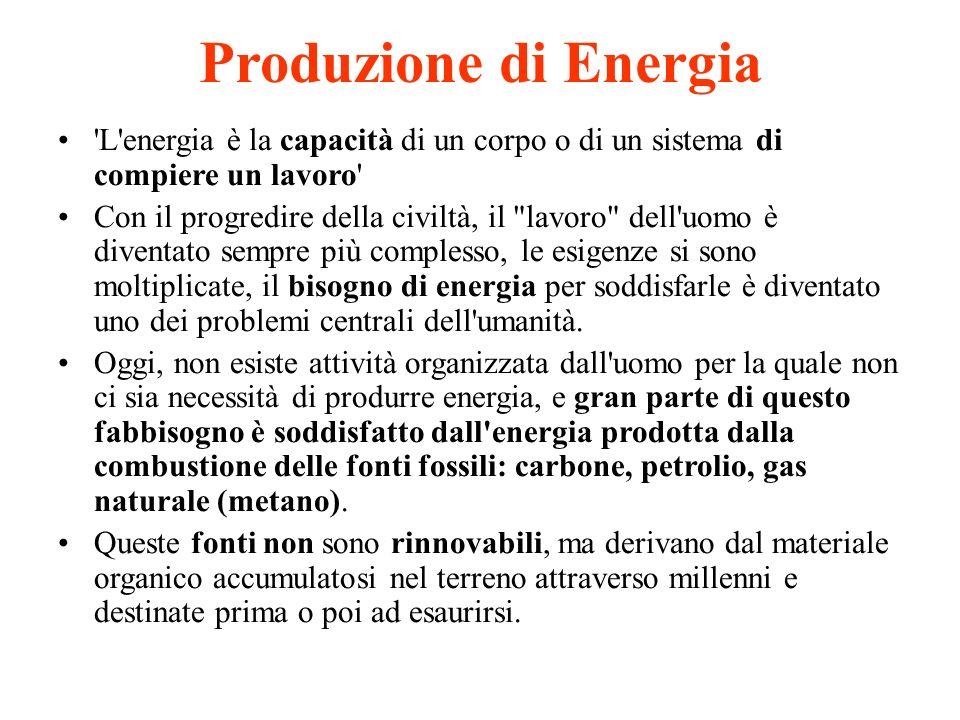 Produzione di Energia L energia è la capacità di un corpo o di un sistema di compiere un lavoro