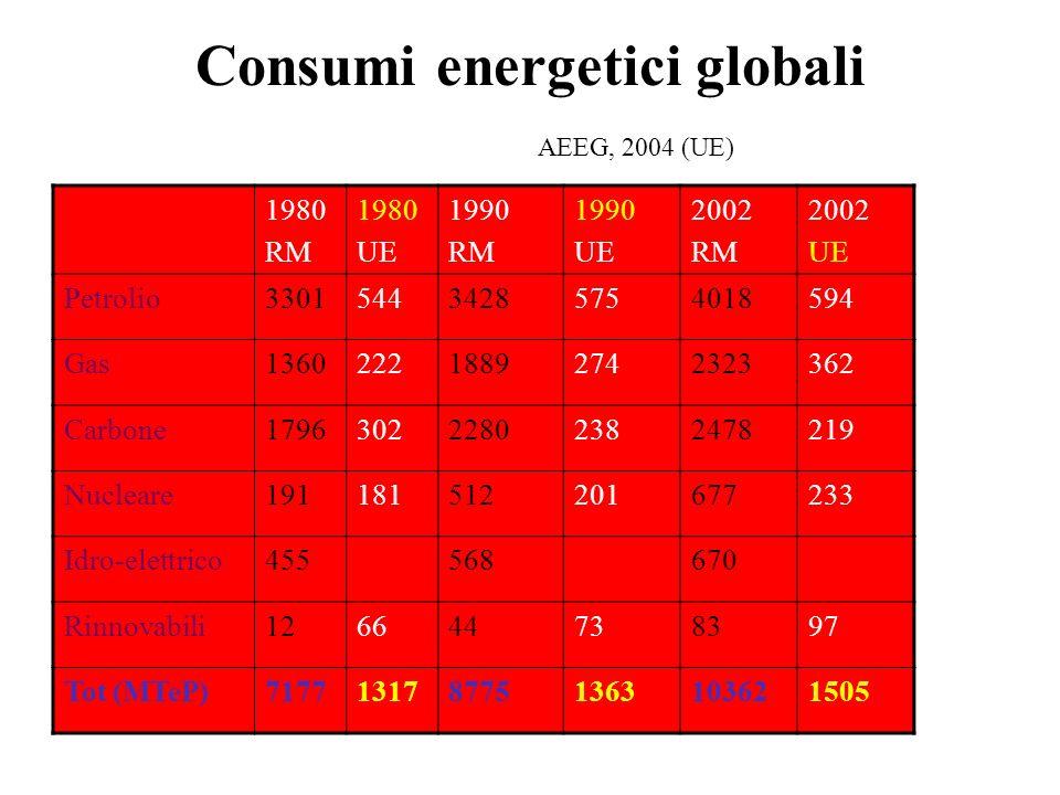 Consumi energetici globali AEEG, 2004 (UE)