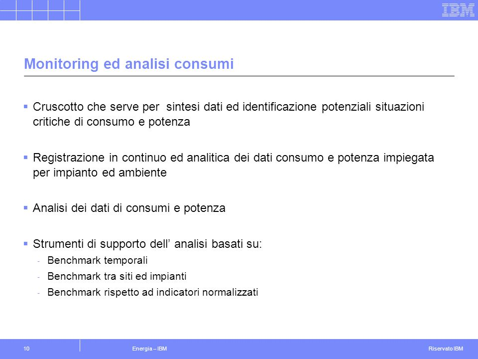 Monitoring ed analisi consumi