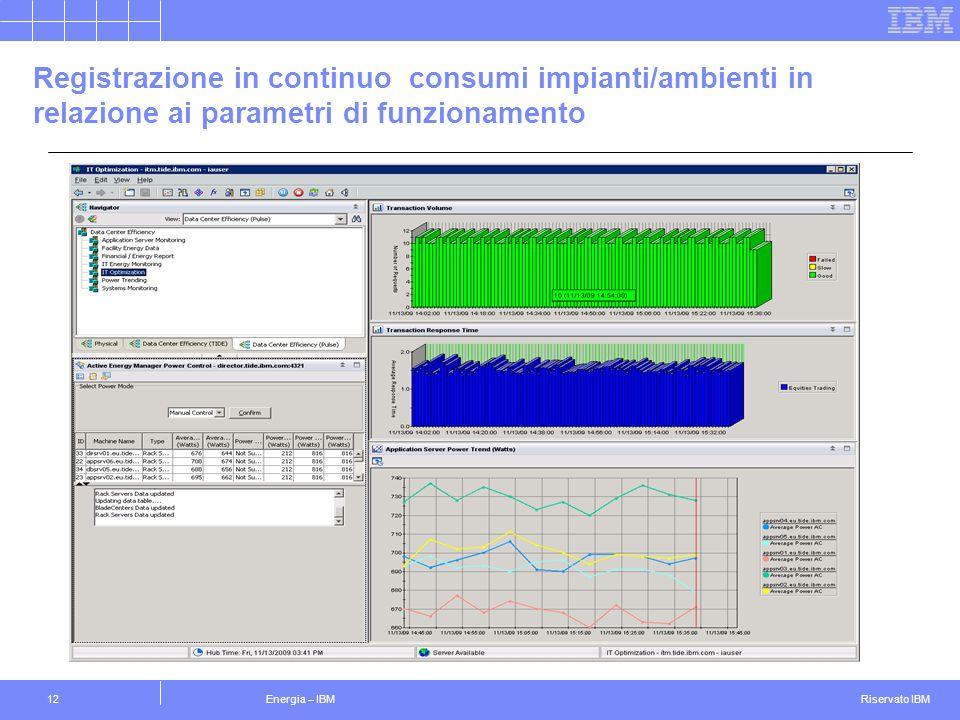 Registrazione in continuo consumi impianti/ambienti in relazione ai parametri di funzionamento
