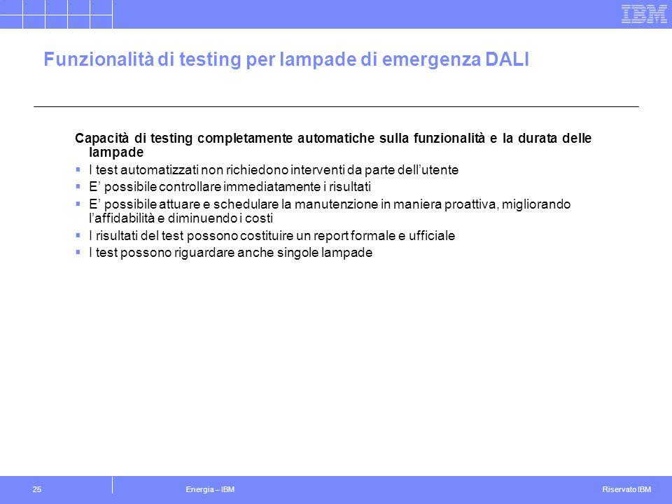 Funzionalità di testing per lampade di emergenza DALI