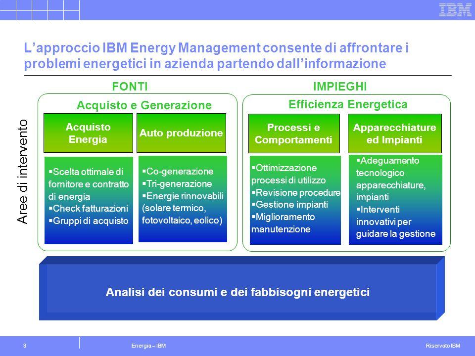 L'approccio IBM Energy Management consente di affrontare i problemi energetici in azienda partendo dall'informazione