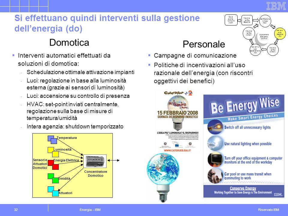 Si effettuano quindi interventi sulla gestione dell'energia (do)