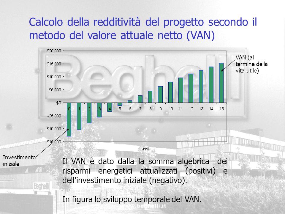 Calcolo della redditività del progetto secondo il metodo del valore attuale netto (VAN)