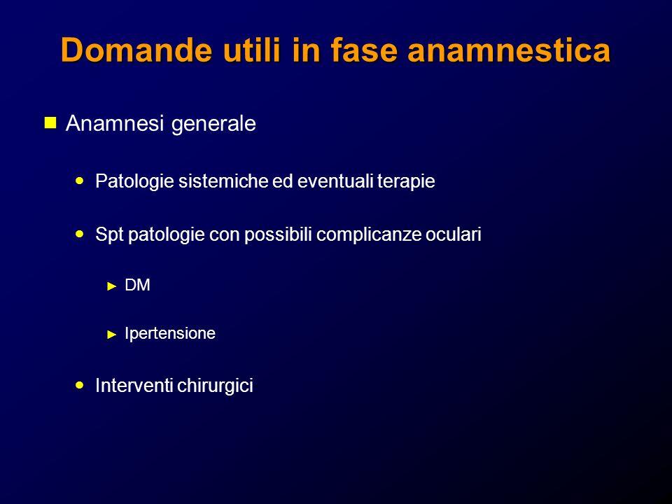 Domande utili in fase anamnestica