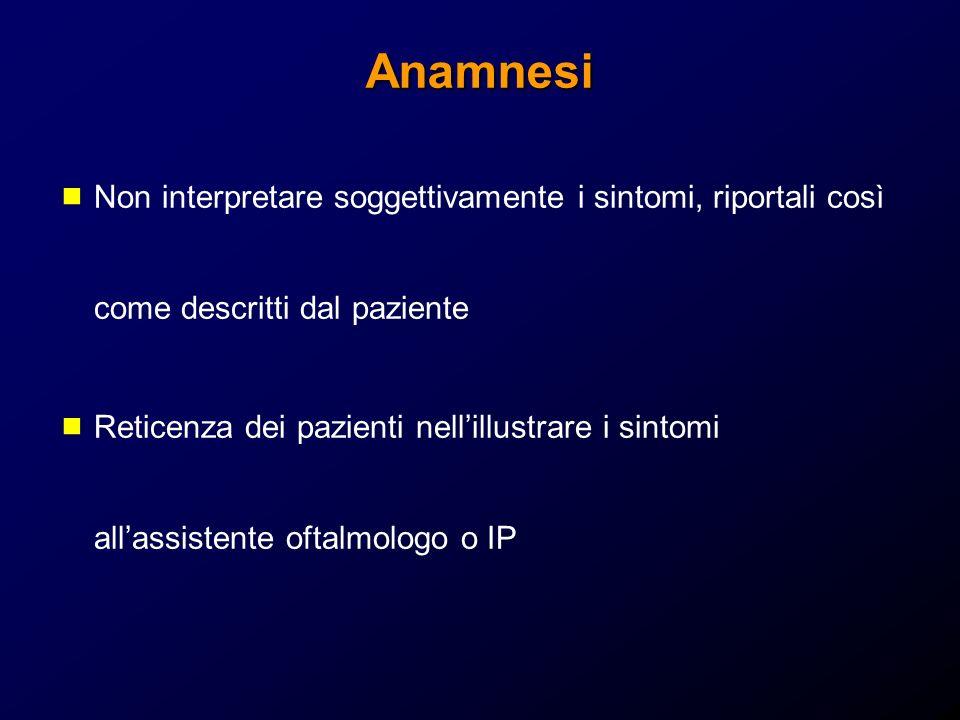 Anamnesi Non interpretare soggettivamente i sintomi, riportali così come descritti dal paziente.