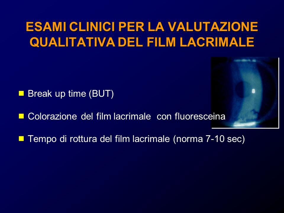 ESAMI CLINICI PER LA VALUTAZIONE QUALITATIVA DEL FILM LACRIMALE