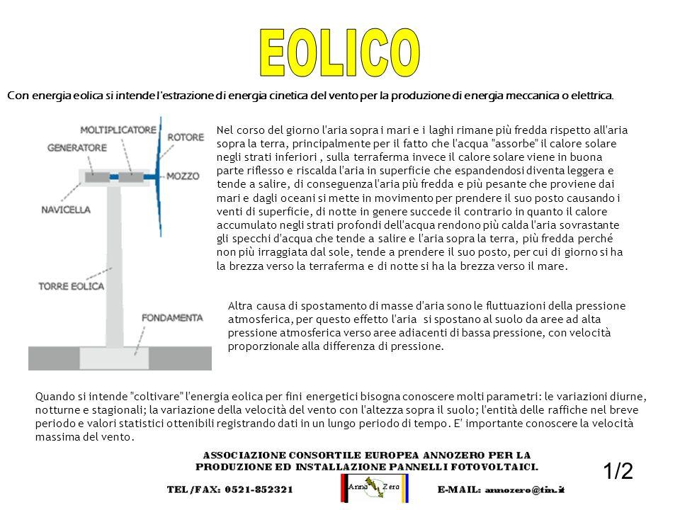 EOLICO Con energia eolica si intende l estrazione di energia cinetica del vento per la produzione di energia meccanica o elettrica.
