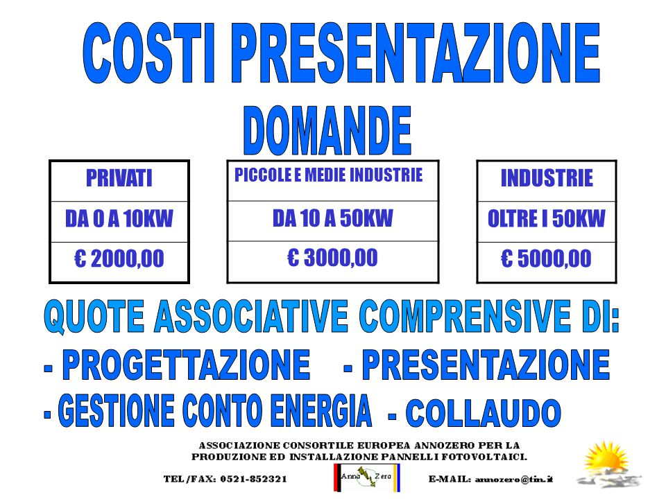 COSTI PRESENTAZIONE DOMANDE QUOTE ASSOCIATIVE COMPRENSIVE DI: