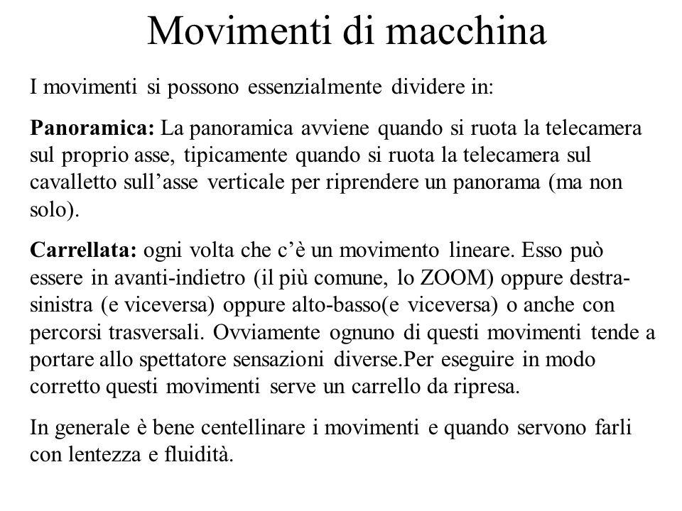 Movimenti di macchina I movimenti si possono essenzialmente dividere in: