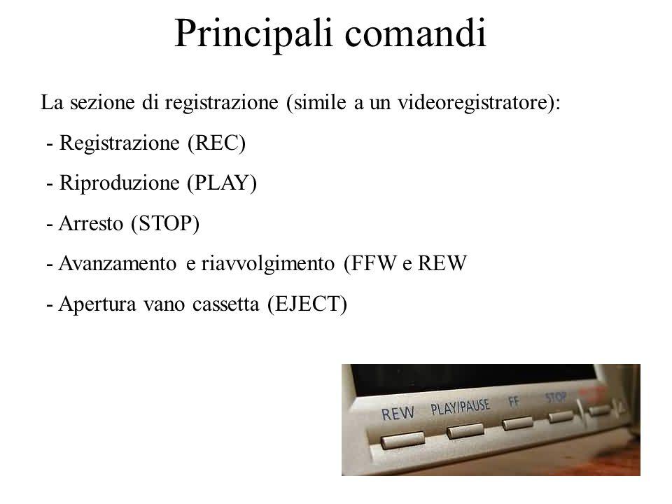 Principali comandi La sezione di registrazione (simile a un videoregistratore): - Registrazione (REC)